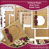 Antique Roses Bow Front Easel Card & Box Kit