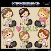 Sitting Sophie Loves Her Dolls ClipArt Collection