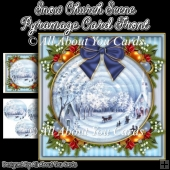 Snow Church Scene Pyramage Card Front