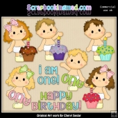 Butterball Babies First Birthday ClipArt Collection