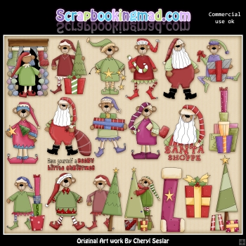 Christmas Holiday Bears 2 ClipArt Graphic Collection