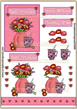 Pink Friendship Tea PDF Decoupage Download