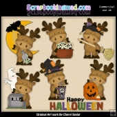 Marvin The Moose Happy Halloween ClipArt Collection