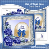 Blue Vintage Rose Card Front
