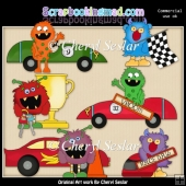Silly Monsters Race Day ClipArt Collection