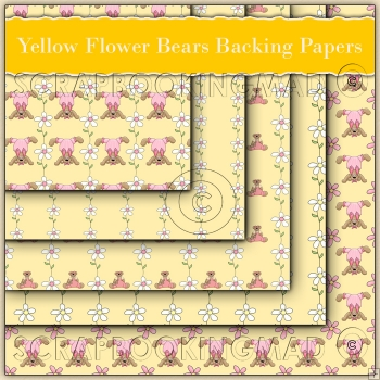 5 Yellow Flower Bears Backing Papers Download (C79)