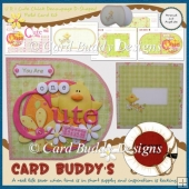 U R 1 Cute Chick Decoupage D-Shaped Fold Card Kit