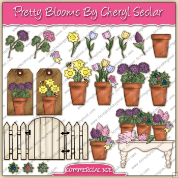 Pretty Blooms ClipArt Graphic Collection - REF - CS
