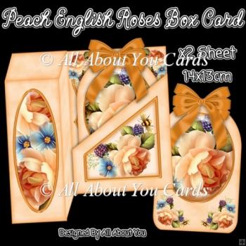 Peach English Roses Gift Box Card