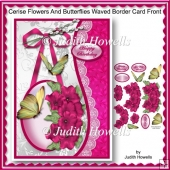 Cerise Flowers And Butterflies Waved Border Card Front