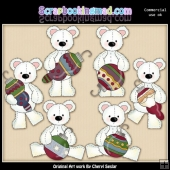 Stuffed Polar Bears Deck The Halls ClipArt Collection