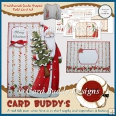 Traditional Santa Shaped Fold Card Kit