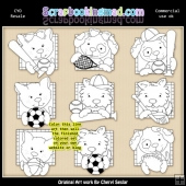 Doggy All Stars Colour Your Own ClipArt RESALE SET