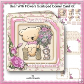 Bear With Flowers Scalloped Corner Card Kit