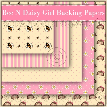 5 Bee N Daisy Girl Backing Papers Download (C129)