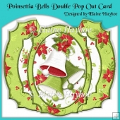 Poinsettia Bells Double Pop Out Card with Envelope