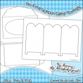 Tri Fold Screen Card & Envelope Template Commercial Use OK