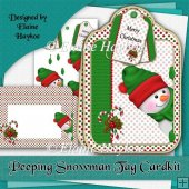 Peeping Snowman Tag Shaped Cardkit