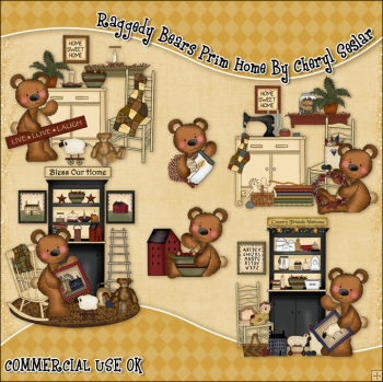 Raggedy Bears Prim Home ClipArt Graphic Collection