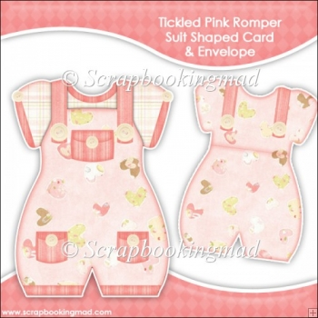 Tickled Pink Romper Suit Shaped Card