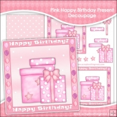 Pink Happy Birthday Present Decoupage Download