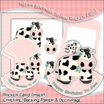 Happy Birthday To Moo PDF Rocker Card Download