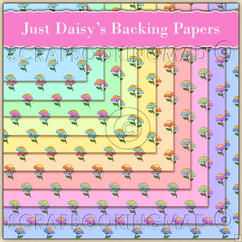 10 Just Daisy's Backing Papers Download (C155)