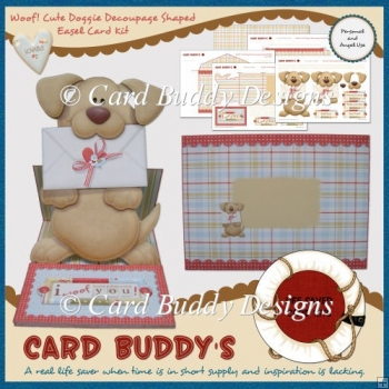 Woof! Cute Doggie Decoupage Shaped Easel Card Kit