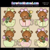 Bailey Bear Teacups ClipArt Graphic Collection