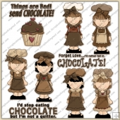 Chocolate Girls ClipArt Graphic Collection