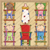 Babies Lunch Time ClipArt Graphic Collection