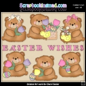 Booboo Bears Easter Wishes ClipArt Collection