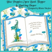 Blue Poppies Open Book Topper & Backing Paper