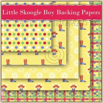 5 Little Scoogle Boy Backing Papers Download (C105)