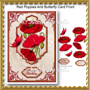 Red Poppies And Butterfly Card Front