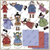 Christmas Snow Angels 1 ClipArt Graphic Collection