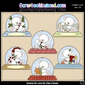 Polar Bear Snowglobe ClipArt Collection