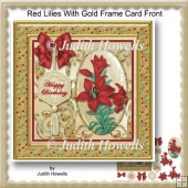 Red Lilies With Gold Frame Card Front