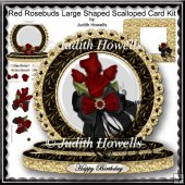 Red Rosebuds Large Shaped Scalloped Card Kit