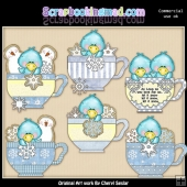Snowbird Teacups ClipArt Collection