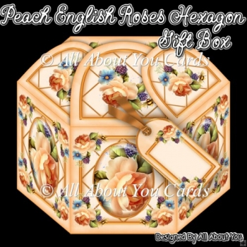 Peach English Roses Hexagon Gift Box