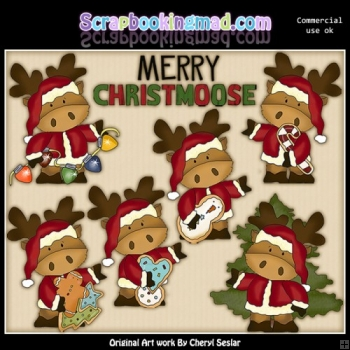 Marvin The Christmoose ClipArt Collection