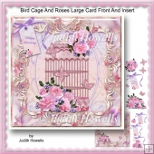 Bird Cage And Roses Large Card Front And Insert