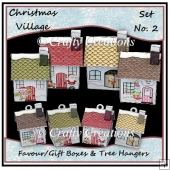 Christmas Village - Set 2 - With Bonus Miniature Tree Hangers