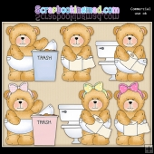 Chubby Cubby Potty ClipArt Graphic Collection