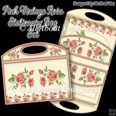 Pink Vintage Rose Stationery Bag Set