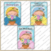 3 Flower Pot Girl Quick Greeting Cards PDF Download