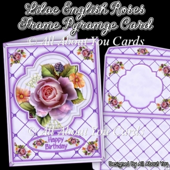 Lilac English Roses Frame Pyramage Card