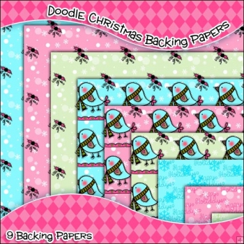 9 Doodle Christmas Backing Papers Download