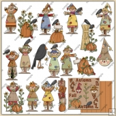 Autumn Fall Scarecrows ClipArt Graphic Collection 1